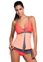 Maillot de bain tankini bas jupe-short block de couleur orange rose
