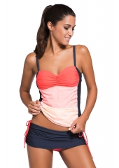 Bandeau tankini orange ombre ensemble jupe-short gris